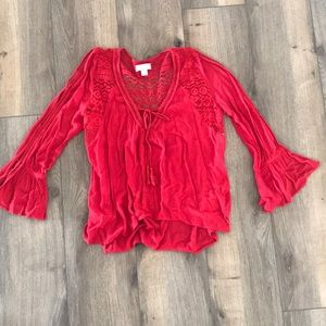 Red peasant blouse